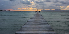 """""""Dawn of a New Day"""" (Pensioner Percy, very slow at the moment) Tags: vacation dog seascape beach dogs water sunrise dawn spain nikon jetty silouette jogger majorca dogwalker alcudia balearicislands d7100 pensionerpercy nikon18140lens"""