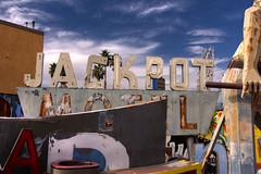 Retired Jackpot Motel Sign in HDR (eoscatchlight) Tags: sign lasvegas nevada neonsign retired hdr rustyandcrusty yesteryear photomatix jackpotmotel calnevari ofdaysgoneby neonsignmuseum