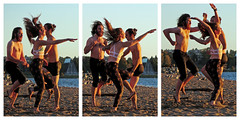 Dancing for warmth (HereInVancouver) Tags: twomenonewoman dancing jumpingupanddown keepingthecoldaway beach vancouverswestend candid triptych streetphotography vancouver bc canada october canong16
