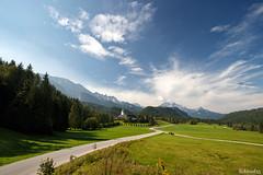 Elmau (lichtauf35) Tags: perfectday bavaria wideangle bluesky elmau vanishing road bavarianalps landscape wide wood lichtauf35