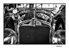 Vintage car (Artico7) Tags: vintage car old front radiator statue h woman headlights steel chrome chromed restored restoration shiny rally caorle italy bw blackwhite blacoandwhite biancoenero monochrome fuji xe1