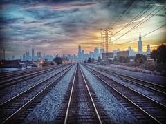 Good morning November. #CHICAGO #outofchicago #metra  #sunrise #stormcloud. (GDMetzler) Tags: instagramapp square squareformat uploaded:by=instagram hefe cityscape rails samsung illinois chicago sunrise
