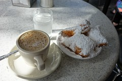 Beignet and Cafe au lait (pelican) Tags: dscrx10 beignet coffee cafédumonde