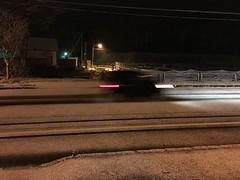 Unexpectedly Snowing Tonight (sjrankin) Tags: 23october2016 edited yubari hokkaido japan snow weather street car streetlight