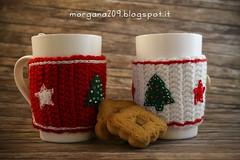 XmasCozyMug_07w (Morgana209) Tags: natale natale2016 christmas cozymug tazze uncinetto crochet feltro handmade fattoamano creativit rosso bianco lana stelle albero tree merenda colazione biscotti