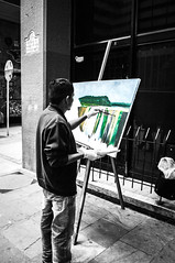 Colombian painter from Bogot. (Angelo Petrozza) Tags: selective colours painter pitore bogot colombia sudamerica blackandwhite biancoenero streetphotography pentax angelopetrozza