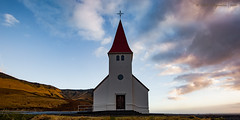 Vik i Myrdal Church Vkurkirkja (Pete 5D......) Tags: blue vik myrdal church south iceland pink skies sky cloud wood wooden religious religion hill landmark famous