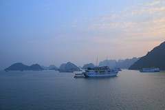 Sunset in Halong Bay, Vietnam. (Go Go Janet) Tags: dusk sunset cruise overnight unesco paradise luxury flag silhouette