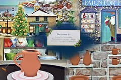 The Sixth Day Of December (Happy Anniversary To US!) Tags: collage adventcalendar thesixthdayofdecember mainst potteryshop pottery pitcher bottles cups plate tree christmas