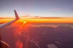 Flying from Hamburg to Oslo (morten f) Tags: view sunset flying window seat fly solnedgang norge norway color colour ocean sea hav vann river elv