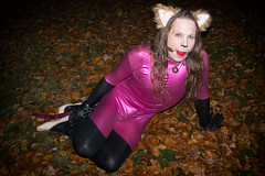 Pink Kitty (Shiny Pet) Tags: spandex catsuit pink cat ears tail costume petplay catplay submissive catboy cathirl lycra cuffs bondage ball gag ballgag gagged lying