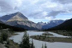 Tangle Ridge (Patricia Henschen) Tags: icefieldsparkway jasper alberta canada parks parcs nationalpark mountains clouds sign tangleridge river athabasca roadside glaciers mountain glacier northern rockies rocky