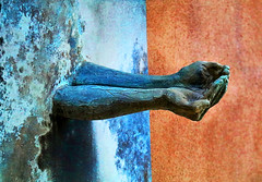 Grateful and Compassionate (studioferullo) Tags: art arm beauty bright colorful colors blue brown green contrast design detail hand hands light garden metal minimalism outdoor outdoors outside pattern pretty patina rust serene study sculpture shadow texture tone tones wall oldtown albuquerque newmexico museum