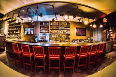 restaurant bar with red chairs (-liyen-) Tags: restaurant bar redchairs fisheye samyang8mm rokinon interior evening night fujixt1