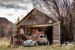 Barn Find (Eric Arnold Photography) Tags: vw volkswagen bug beetle type1 patina rusty clearcoat utah ut springville roofrack cocacola cooler strobe strobist canon 80d composite barn old vintage abandoned cloud cloudy drama dramatic flash offcamera trees speedilite