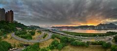 () (szintzhen) Tags:                river sky sunset sunglow cloud reflection bridge road taipeicity taiwan photomerge