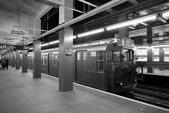 Yesterday or Today (grumpyff) Tags: subway mta nycta r1 r9 holidaynostalgiatrain train transit 2avenue station americancarandfoundrycompany ny nyc newyorkcity newyork 381 blackandwhite bw