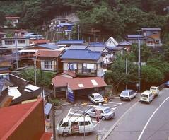 Yokosuka, Japan, around 1985 (rolandmks7) Tags: 横須賀 日本 ektachrome slide scan yokosuka japan 1985 village 安針塚 逸見 nissanprairie 村 日産 トヨタ toyotasprinter nissansunny