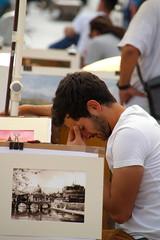Headache (Toni Kaarttinen) Tags: italien boy portrait italy man rome roma men guy boys italia roman paintings guys persone human amici rom seller italie romans headache navona lazio romo italio