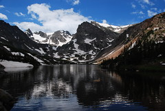 Lake Isabelle (Let Ideas Compete) Tags: shadow terrain cloud lake snow mountains reflection nature beauty landscape high colorado shadows altitude indian hike alpine valley isabelle wilderness peaks timberline mountainous lakeisabelle