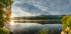 Morning Glory with a Punch (Nigel Johnson) Tags: morning mist lake clouds sunrise waterfall bluesky hills