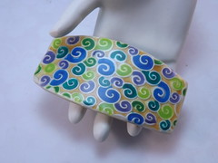 Faux Cloisonne Swirly Barrette (polymerclaycreations) Tags: handmade polymerclay clay faux handcrafted etsy liquid cloisonne pcagoe polymerclaycreations millefiorifloral