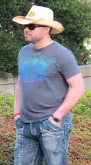 Cowboy Cutie (ManontheStreet2day) Tags: autumn male fall hat cowboy tshirt hunk jeans bluejeans biceps stud bulge