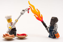Extreme BBQ (Sad Old Biker) Tags: pictures desktop wallpaper hot cute smile cheese poster photo hotdog fry funny chili gun lego mask ketchup sale lol background joke weld burger toast awesome cook sausage bap spit sauerkraut mini bbq images humour best roast grill onions flame burn card chef relish griddle figure buy mustard minifig scared lmao ever weiner coolest blast cutest bun mayonnaise frankfurter rofl welder thrower kevinpoulton sadoldbiker finniest