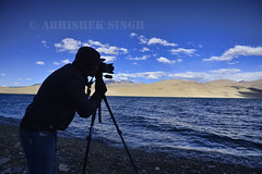 Photographer At Tsomoriri Lake (I.AM.ABHISHEK.SINGH) Tags: travel blue sky india mountains cold nature water weather river landscape photography asia natural cliffs hills leh climate himalayas cloudscape ladakh tsomoriri indusriver travelphotography landscapephotography abhisheksingh photorapher tsomoririlake landscapewallpaper illuminativisuals besttravelphotographerinindia photographyladakh