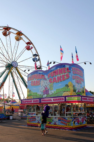 Midway funnel cakes and ferris wheel
