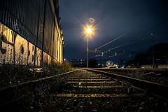 Zone industrielle de la praille (cerutti.j) Tags: train de photo timelapse lumire genve nuit couleur zone chemin grue fer voie industrielle praille bachet
