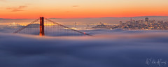 Big Red (Willie Huang Photo) Tags: sf sanfrancisco city nature fog sunrise landscape cityscape goldengatebridge bayarea marinheadlands hawkhill lowfog sffog