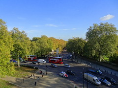 View from the Wellington Arch in London (chibeba) Tags: city uk greatbritain autumn trees england urban color colour london english leaves leaf europe downtown bright unitedkingdom capital dramatic bluesky shades british autumnal autumncolour lateautumn leaffall 2013