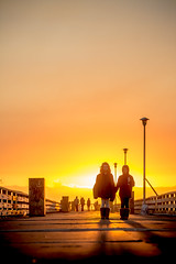And So the Conversation Turned (Thomas Hawk) Tags: california sunset usa silhouette berkeley unitedstates kate unitedstatesofamerica holly berkeleymarina fav10 fav25