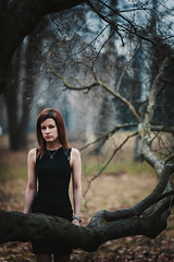 Christina (Gerda Ros) Tags: street wood autumn trees cold girl forest dress young grace lovely gerdaros