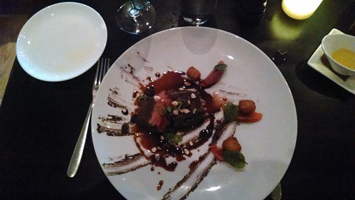 Duck breast with chickpea croquettes with olives, pepperoncini & olive with lavender au jus @ bistro du middi