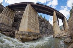 Undercut and Broken (WherezJeff) Tags: bridge canada river concrete railway fisheye erosion alberta pillars cadomin mcleod undercut grandtrunkpacific yellowheadcounty gtpr
