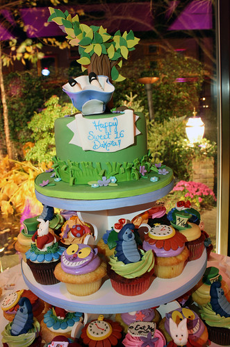 Alice in Wonderland Cake & Cupcake Tower
