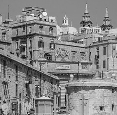 Valletta, Malta - Victoria Gate - explored 22 September 2016 (kurjuz) Tags: malta valletta victoriagate architecture blackandwhite buildings dense shapes stone windows