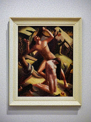 Expulsion (Steve Taylor (Photography)) Tags: loiswhite expulsion 1939 cubism adamandeve snake eden apple artdeco tree gardenofeden frame naked forbeiddenfruit digital art painting picture newzealand nz southisland canterbury christchurch city texture coiled
