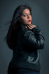 Leatherback (Photography by XO) Tags: black hair leather jacket leatherjacket redlipstick latina beauty retouch vignette longhair browneyes thundergray voluptuous bluejeans darkhair blackleather girl photoshop photoshoot pose plussize