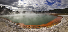 Champagne Pool Panorama (PJEnsell) Tags: hot pool geothermal orange blue sulphur waiotapu panorama steam heat newzealand rotorua taupo