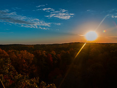 Autumn Sunset (dmltraveler) Tags: sunset sun yellow blue sky sunny autumn colors fall trees clouds canon t6i wide composition hobby mohican state park golden orange red green landscape photography fun tower fire watch high tall beautiful stunning gorgeous lightroom photoshop cc stacked merge hdr exposure