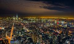 Manhattan, NYC at night (Artem Zhukov) Tags: night new york manhattan skyline city aerial view brooklyn midtown bridge building architecture urban downtown street nyc travel river america cityscape skyscraper light background sky penthouse water colorful park outdoors office scene high landmark contemporary usa east evening illuminated panoramic district