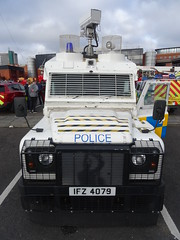 PSNI Penman CCTV Unit @ Central Fire Stn, 29th Oct 2016 (36) (nathanlawrence785) Tags: psni police service northern ireland ni land rover pangolin ovik penman engineering ruc tangi alr mk4 belfast bankmore street donegal pass patrol tsg tactical support group riot van meat wagon antrim steeple parkhall camp barracks base cctv camera unit the troubles constable officer chief met metro metropolitan battenburg white blue yellow orange slate grey apov apv