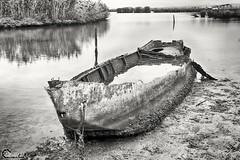 Stuck in the mud. (CyberDEL1) Tags: macedonian macedoniatimeless macedonia makedonia macedoniagreece greece hellas samsungnx1 samsungnx1650228s    blackandwhite decacy boat