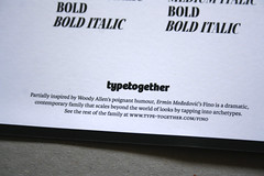 Fino (TypeTogether) Tags: fino erminmeđedović typetogether wwwtypetogethercom titling sansserif serif stencil sansserifstencil superfamily uppercase printedephemera modernmagconference goodiebag printed