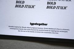 Fino (TypeTogether) Tags: fino erminmeedovi typetogether wwwtypetogethercom titling sansserif serif stencil sansserifstencil superfamily uppercase printedephemera modernmagconference goodiebag printed