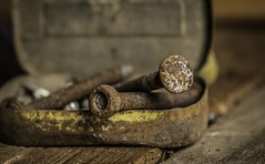 Nuts and Bolts... (GPC- photos) Tags: rust tin screws bolt nut metal wood bench canon700d yellow orange shed work bokeh tins nails diy