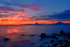 Sunsets come and go every night but you came once in my life... (gregtz) Tags: sea seaside sunset sky clouds stones emotions greece patras long exposure     nature
